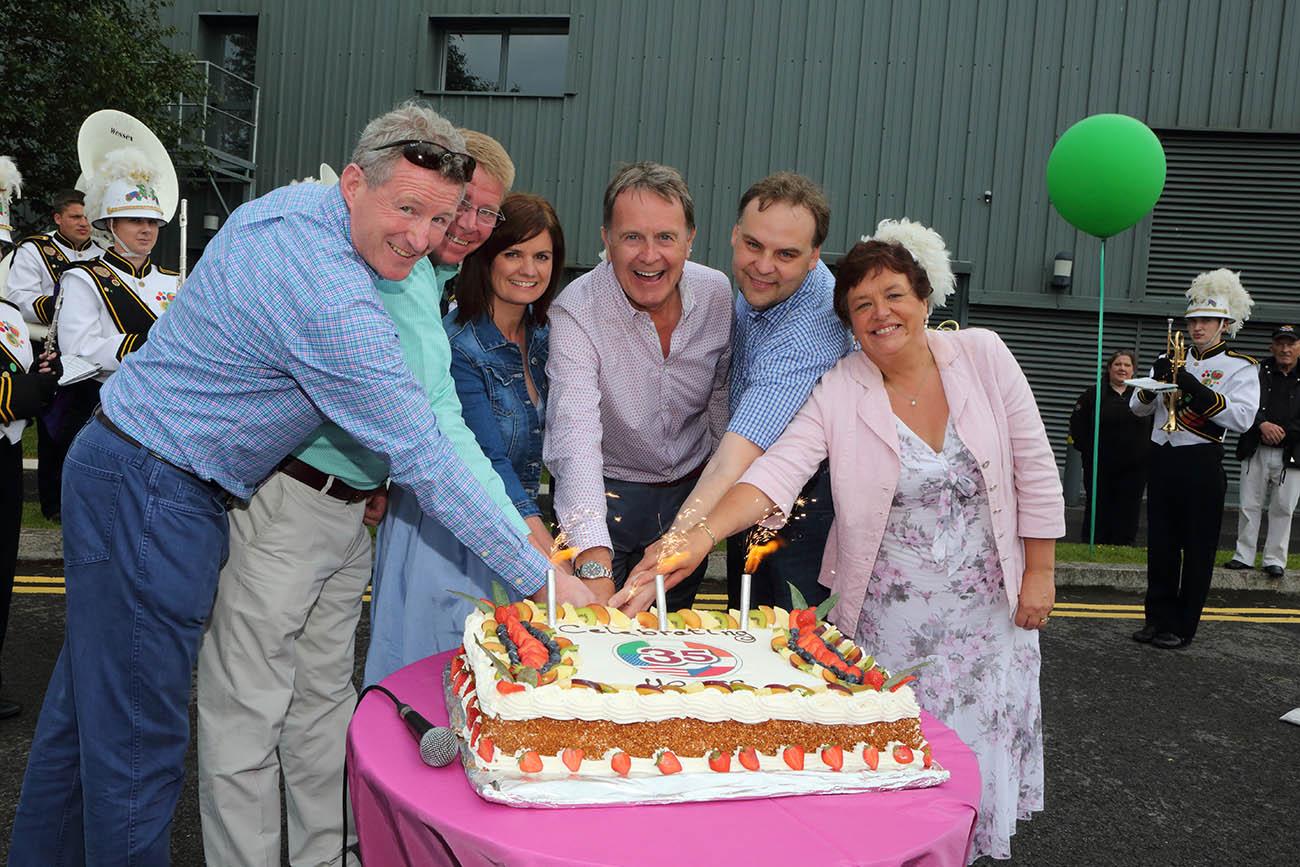 Cutting The 35 Year Cake, L-R:Tom Mullen, Chris Wilson, Aisling Nolan, Pat Beirne, Libor Horak and Sarah Farrelly